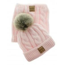 Czapka z kominem na polarze 48-56 jasno różowa